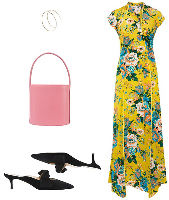 what-to-wear-for-a-summer-wedding-guest-outfit-yellow-dress-maxi-floral-print-pink-bag-black-shoe-pumps-mules-dinner.jpg