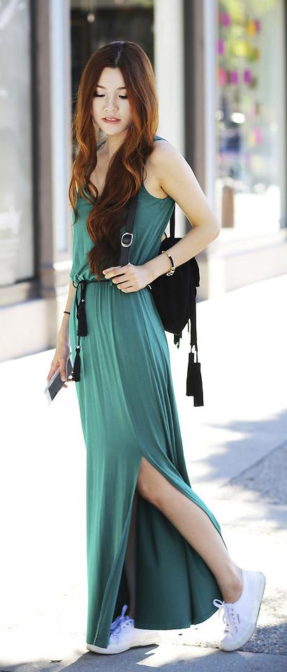 79daf17339 green-emerald-dress-maxi-white-shoe-sneakers-black-