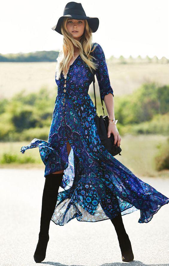 blue-navy-dress-peasant-cobalt-print-maxi-black-bag-blonde-hat-black-shoe-boots-otk-fall-winter-lunch.jpg