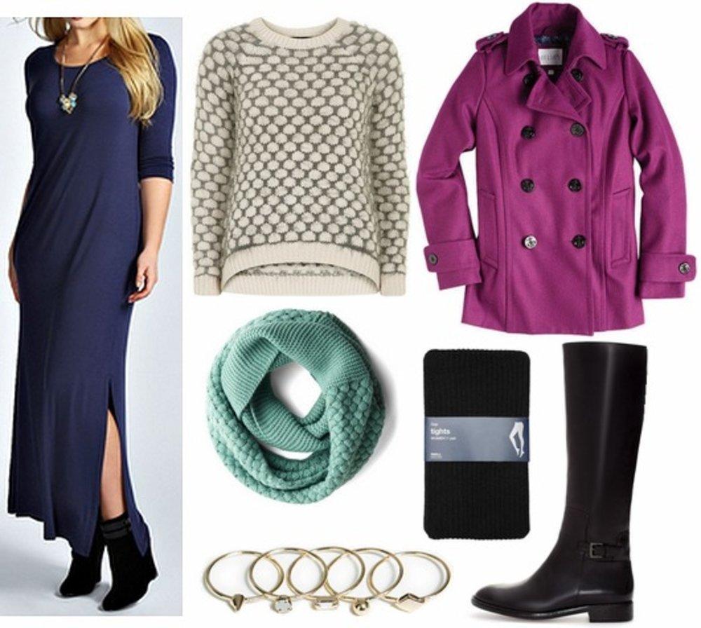 blue-navy-dress-maxi-tshirt-black-tights-black-shoe-boots-bracelet-white-sweater-purple-royal-jacket-coat-peacoat-fall-winter-weekend.jpg