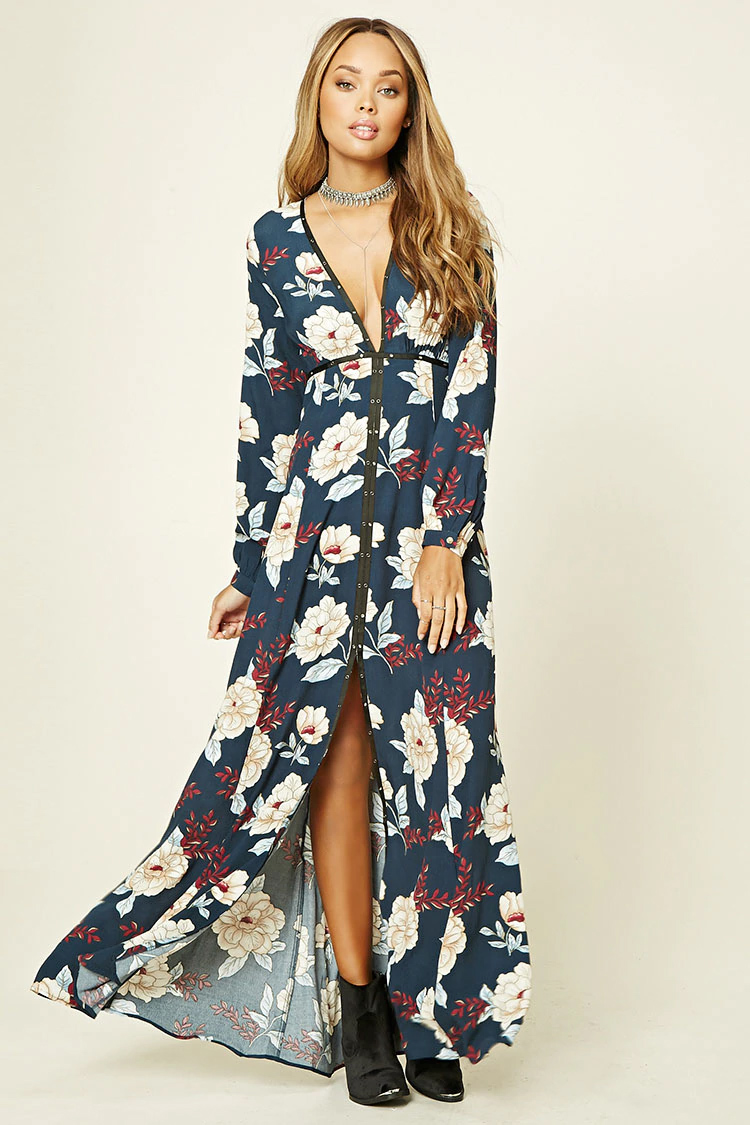blue-navy-dress-zprint-floral-black-shoe-booties-choker-maxi-wear-style-fashion-spring-summer-forever21-oufit-hairr-lunch.jpg
