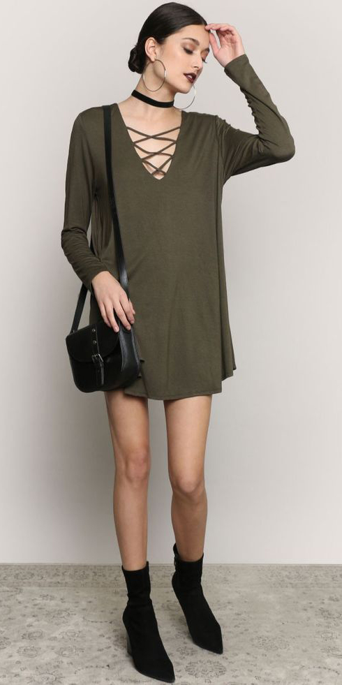 b59c3bc54c green-olive-dress-mini-tshirt-choker-bun-black-