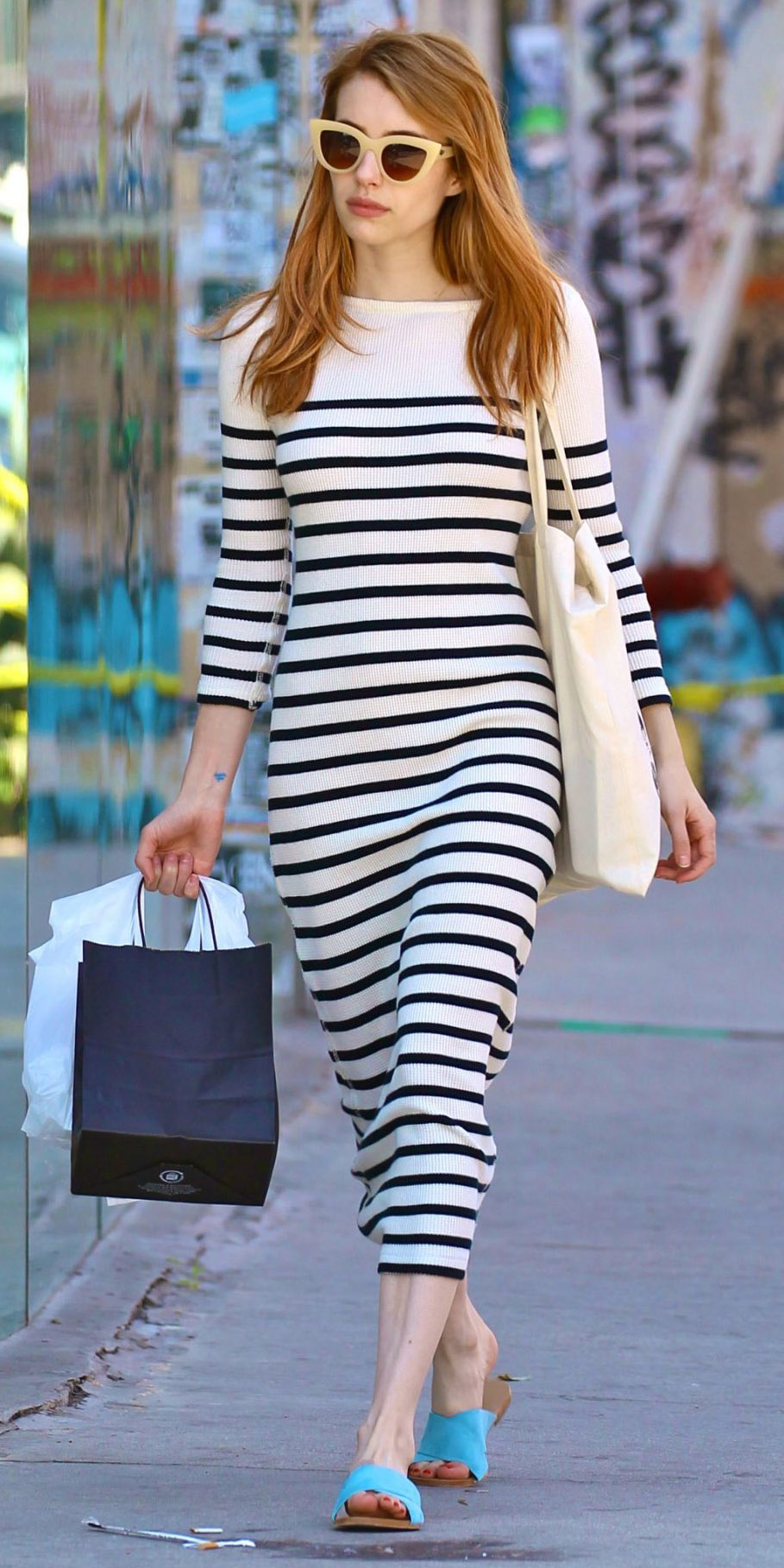 58aa773d231f black-dress-zprint-stripe-blue-shoe-sandals-white-