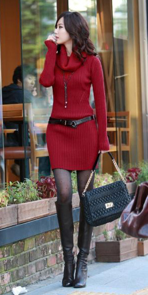 44e46595508 red-dress-sweater-black-tights-black-shoe-boots-
