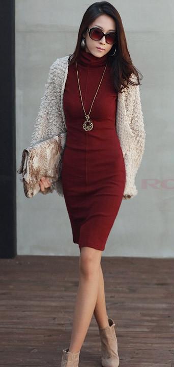 57bec742420 burgundy-dress-sweater-white-cardigan-tan-shoe-booties-