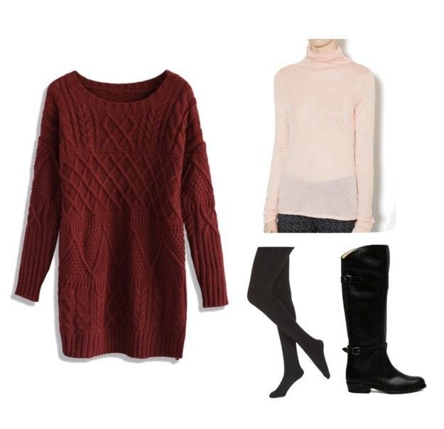 5ea020bc2d2 r-burgundy-dress-pink-light-tee-howtowear-fashion-