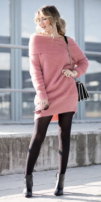 21951107b6a pink-light-dress-sweater-black-tights-black-shoe-