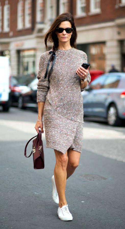 6f1698adf0e o-tan-dress-a-white-shoe-sneakers-burgundy-