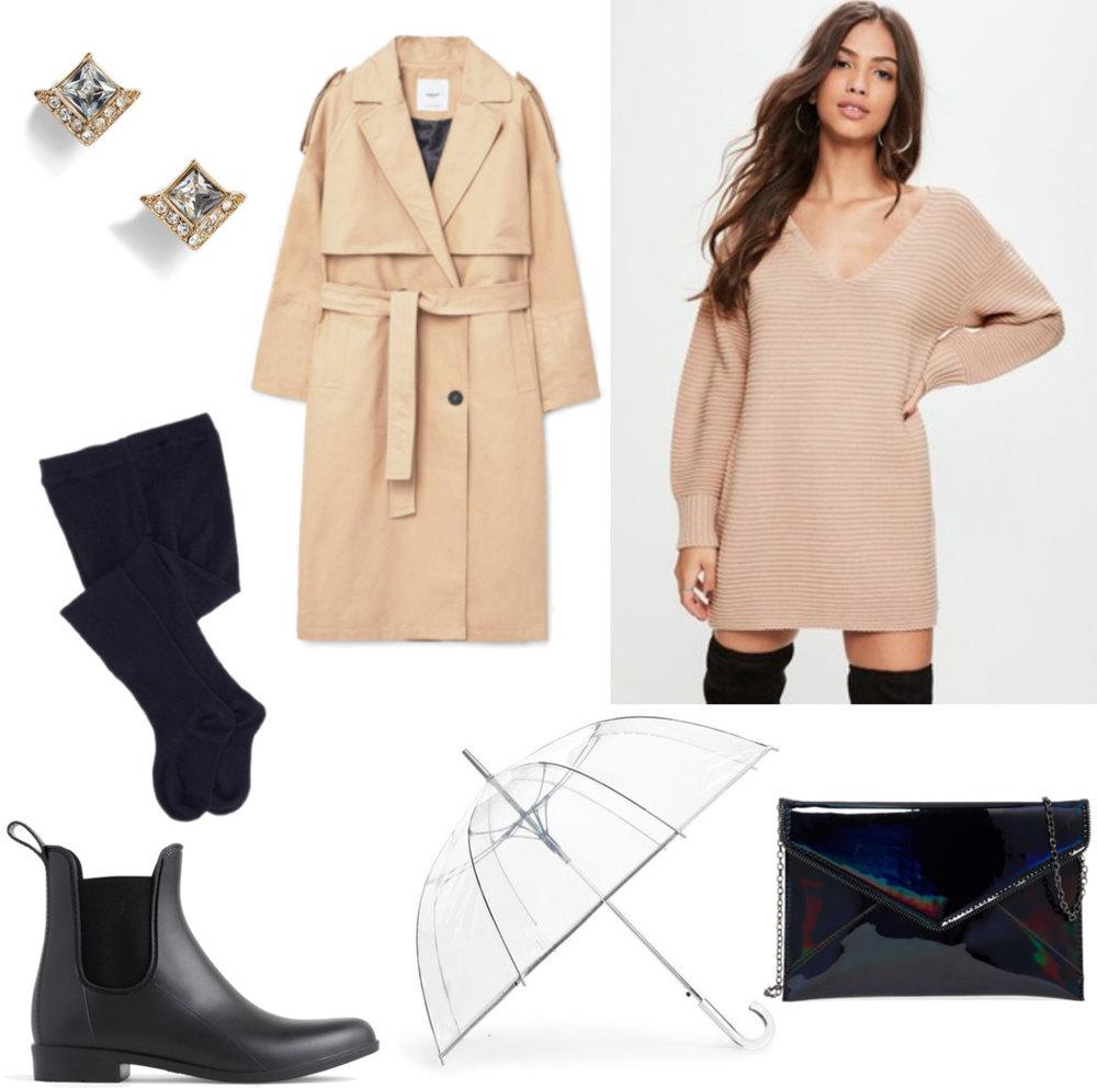a6a3d75731 tan-dress-sweater-black-tights-studs-blue-bag-