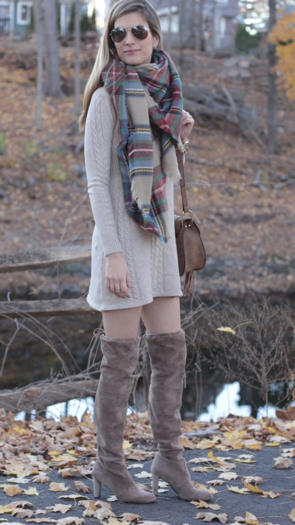951f1f22616 tan-dress-sweater-tan-scarf-plaid-tan-shoe-
