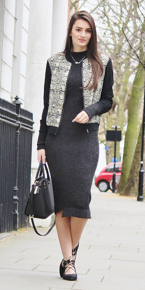 Dark Gray Sweater Dresses Howtowear Fashion