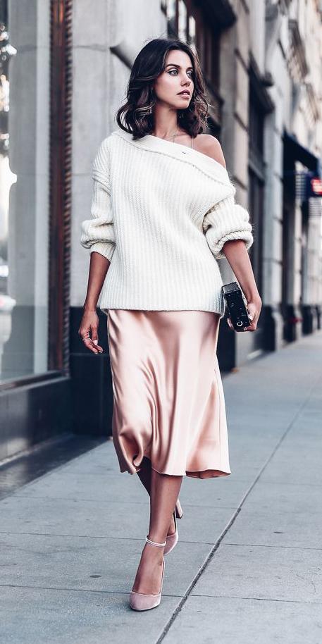 b086b9916d peach-dress-slip-white-sweater-tan-shoe-pumps-