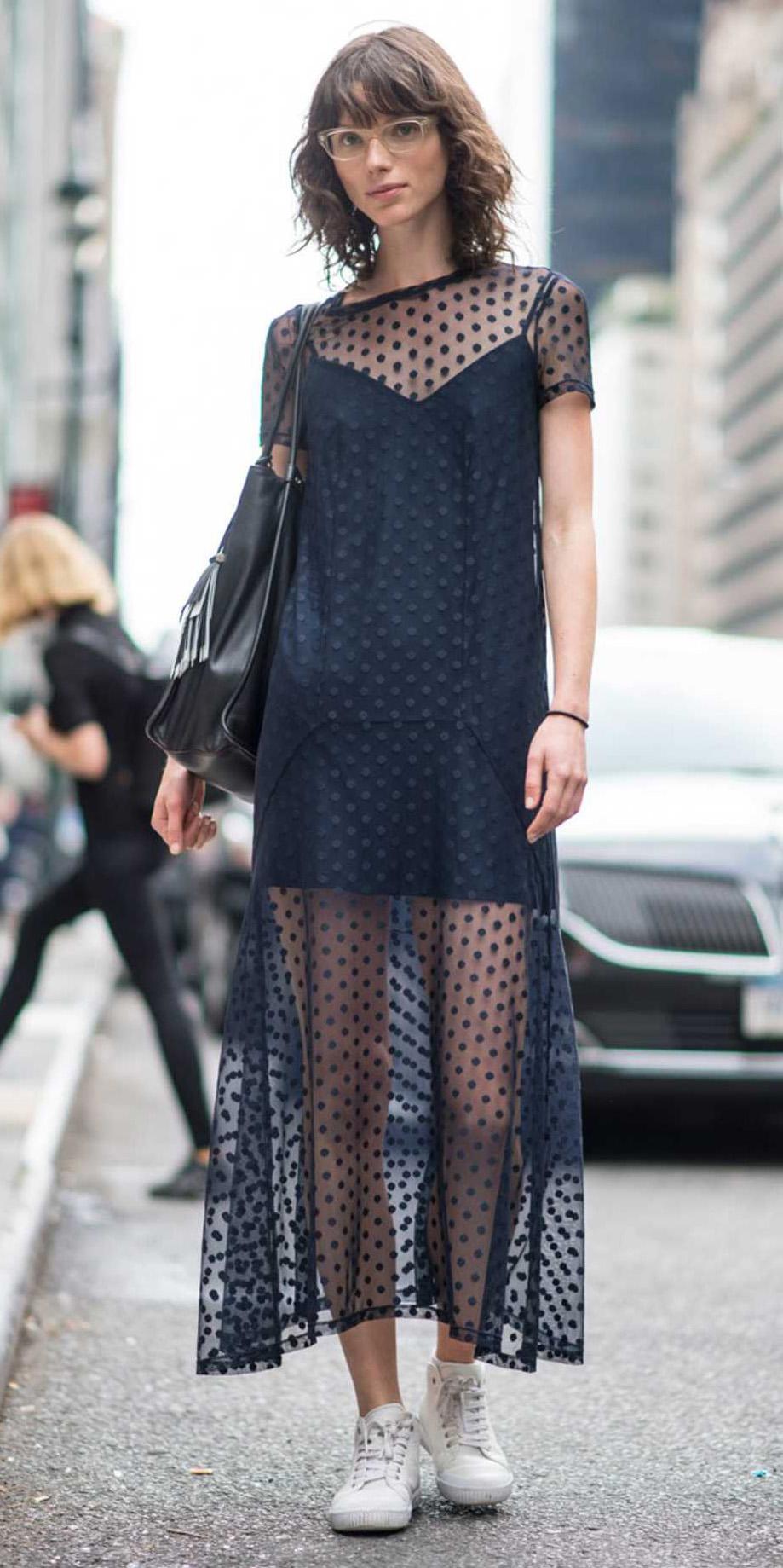 ac82cdd53c black-dress-slip-layer-maxi-white-shoe-sneakers-