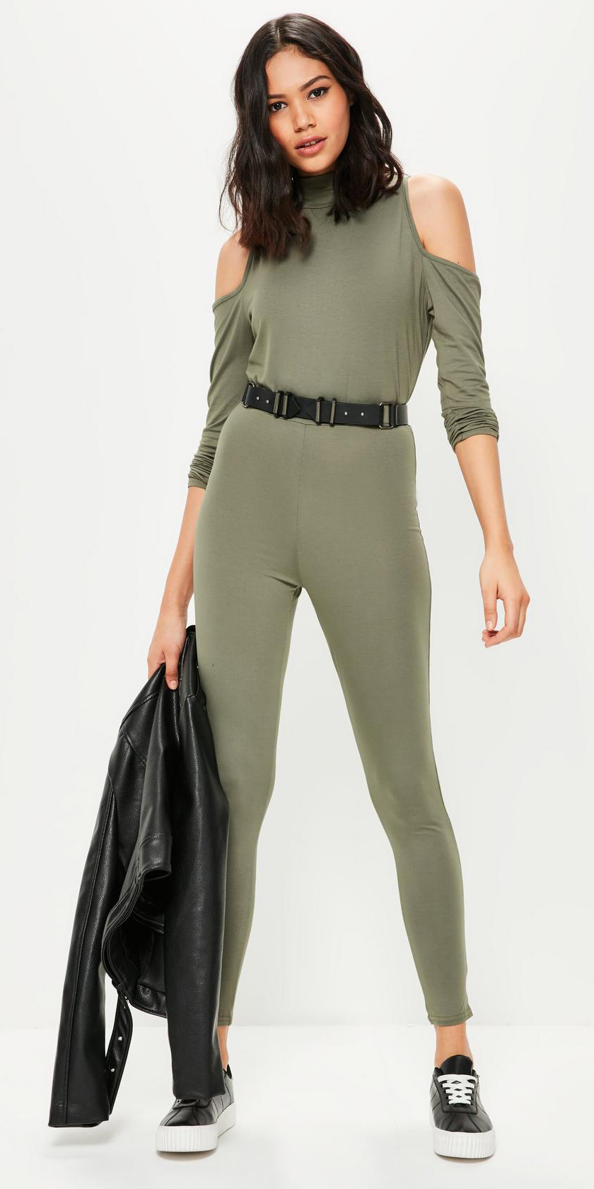 a6326599cdb green-olive-jumpsuit-black-jacket-moto-black-shoe-
