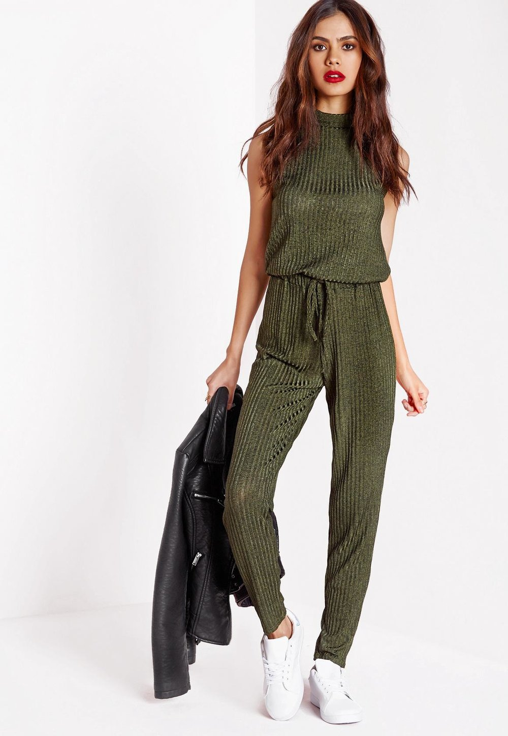 1a4d8b37035 green-olive-jumpsuit-black-jacket-moto-white-shoe-