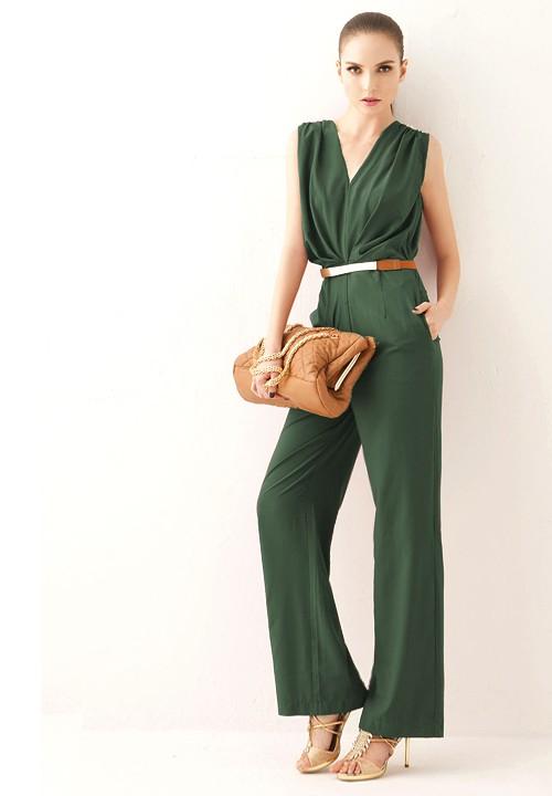 88694e482810 green-olive-jumpsuit-cognac-bag-clutch-skinny-belt-