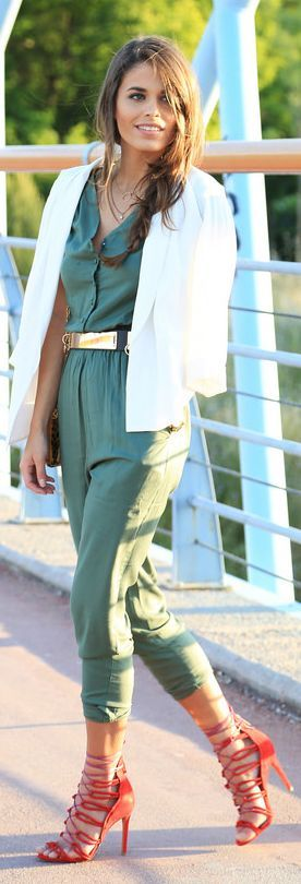95ebb1dacd4 green-olive-jumpsuit-belt-white-jacket-blazer-red-