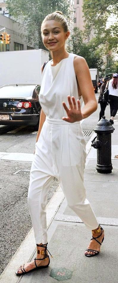 8066e691bdb0 white-jumpsuit-black-shoe-sandals-bun-blonde-spring-
