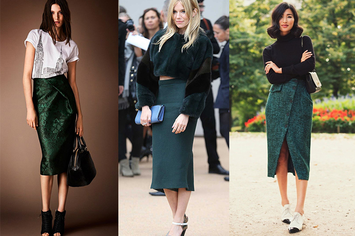 c942aa488e19 Dark green midi skirts | HowToWearFashion.com