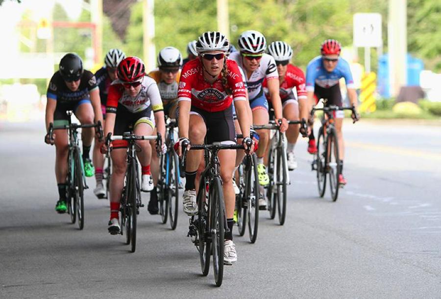 Denise comfortable at the front driving the pace - Photo: Tour de Delta