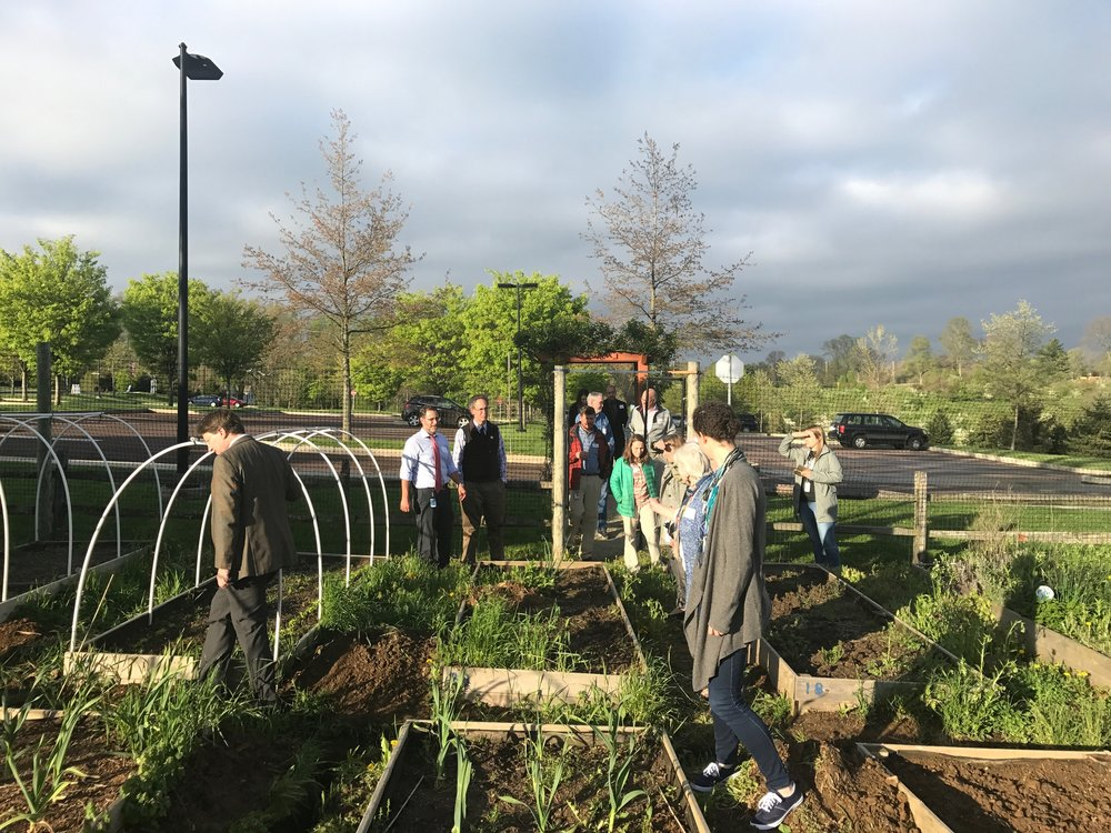 Group members explore EA's community garden and discuss maintenance strategies for sustainability initiatives on campus.