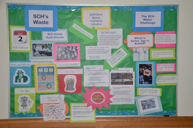 Springside Chestnut Hill Academy, a 2012 Green Ribbon School from Pennsylvania, uses bulletin boards to raise awareness of the school's zero waste efforts.