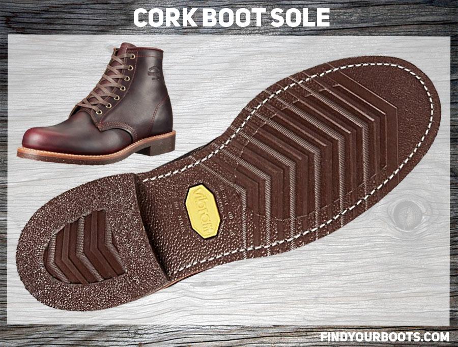 Cork Nitrile Sole Example - Original Chippewa Service Utility Boot