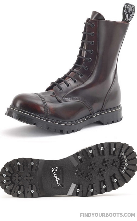 "Gripfast 10 Eyelet boots are also available in black vegan ""leather"""