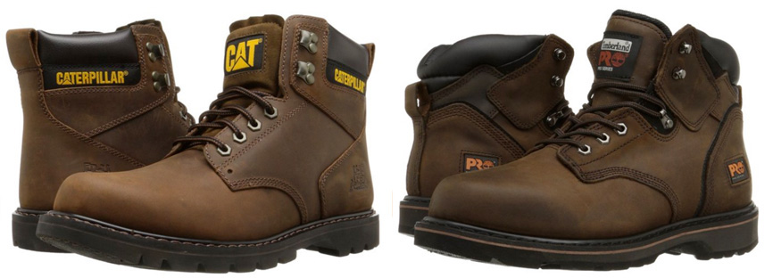 Side by side comparison of brown Caterpillar Second Shift boots vs Timberland PRO Pitboss boots.