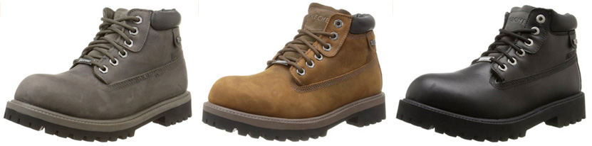 The Skechers Verdict Boots are available in Charcoal, Dark Brown and Black leather.