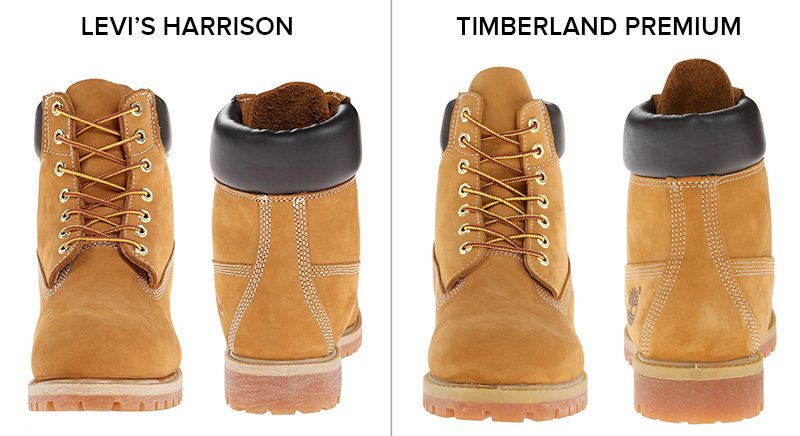 Both Levi's and Timberland feature identical stitching and construction.