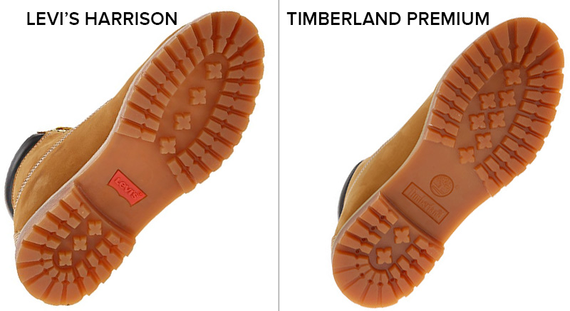 Levis vs Timberland: Near identical lugged rubber outsoles.