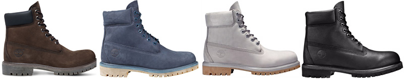 A small sample of Timberland 6-inch color options.