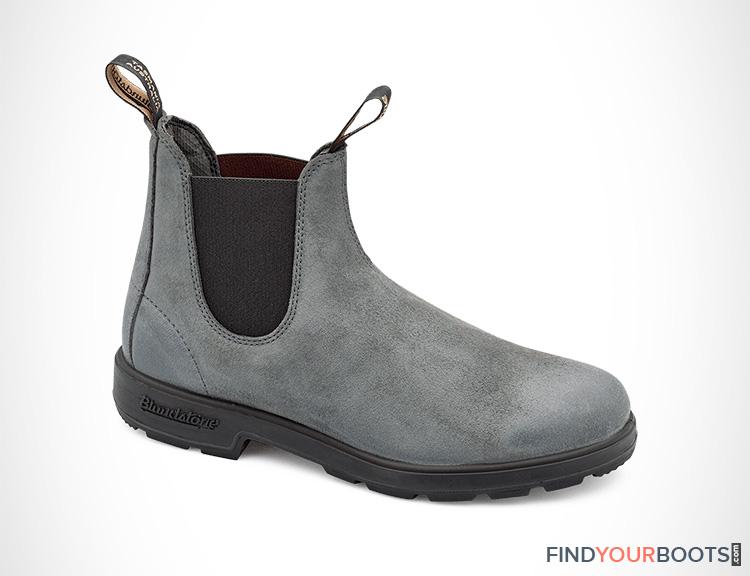 Grey suede chelsea rain boots for men