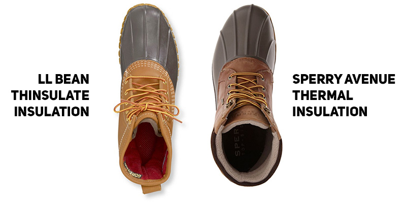 LL Bean Thinsulate vs Sperry Thermal Insulation