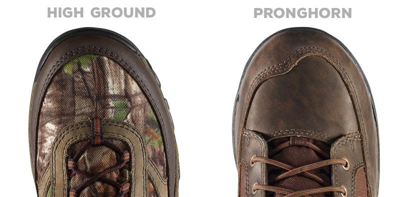 Danner High Ground vs Pronghorn toe box comparison.
