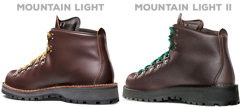 Showcasing the Mountain Light and Mountain Light II's one-piece leather uppers.