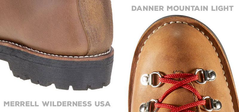 Merrell Wilderness Norwegian welt vs Danner Mountain Light stitchdown construction