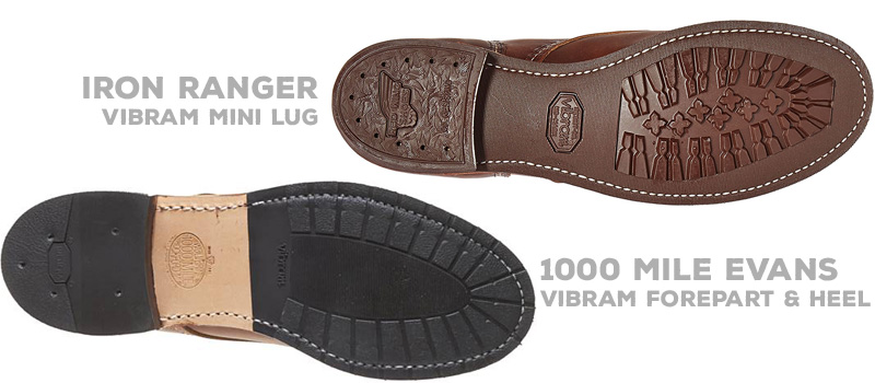 Beefed Upped: Iron Ranger Vibram 430 Mini-Lug vs 1000 Mile Evans Vibram Rubber