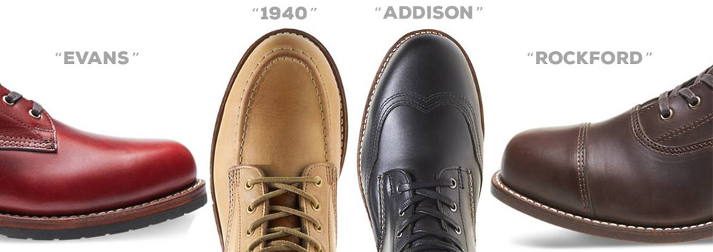 Types of Wolverine 1000 Mile boot toe styles