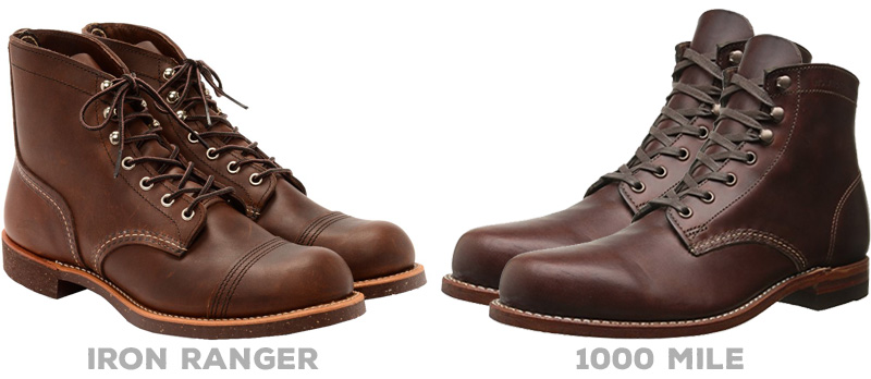 Iron Ranger vs 1000 Mile -Differences in stitching, laces, and toe box shape.
