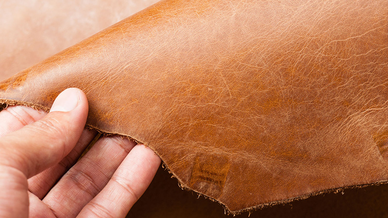 Signs of life: Imperfections in full grain leather.