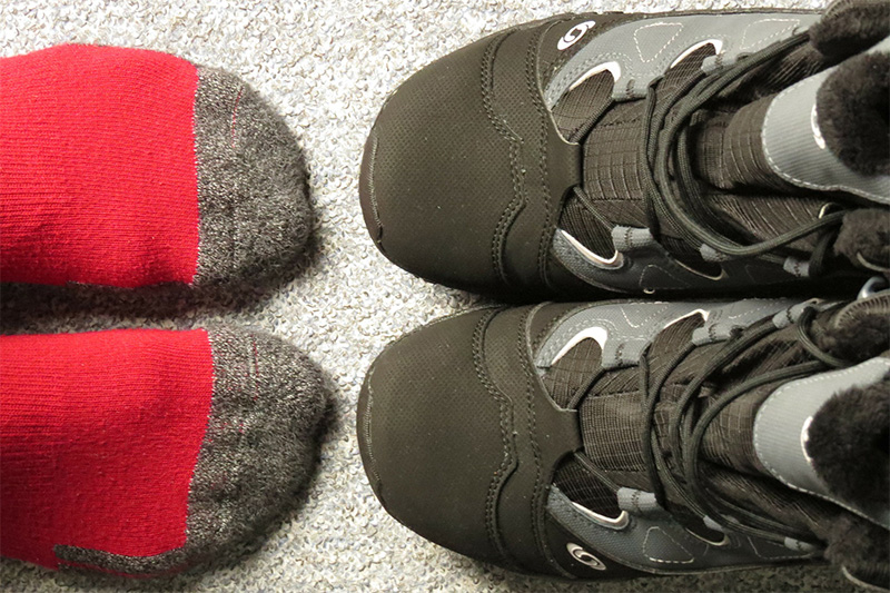 Make sure to wear the correct thickness socks when determining boot fit.