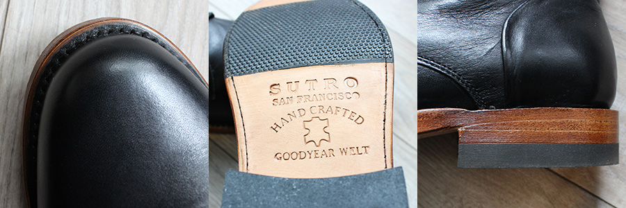 Sutro Vermont Boots: Goodyear welt construction and stacked leather heel.