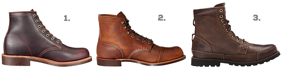 1. Original Chippewa Service Boot ( Amazon )  2. Red Wing Heritage Iron Ranger ( Amazon )  3. Timberland Earthkeepers ( Amazon )