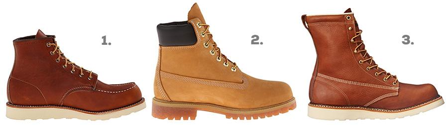 """1. Red Wing Heritage Classic Moc ( Amazon )  2. Timberland Premium 6"""" Boot ( Amazon )  3. Thorogood American Heritage 8"""" Work Boot ( Amazon )"""
