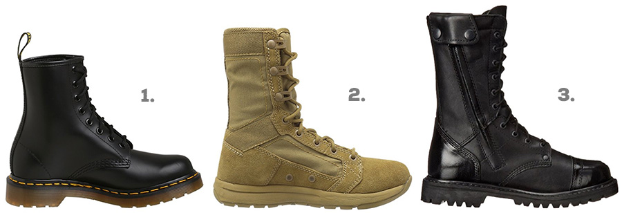 "1. Dr. Martens 1460 ( Amazon )  2. Danner Tachyon 8"" Boot ( Amazon )  3. Rocky Modern Paraboot ( Amazon )"