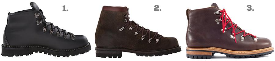 1. Danner Mountain Light II ( Amazon )  2. FRYE Wyoming Hiker Boot ( Amazon )  3. Viberg Oiled Calf Hiker Boot ( Viberg )