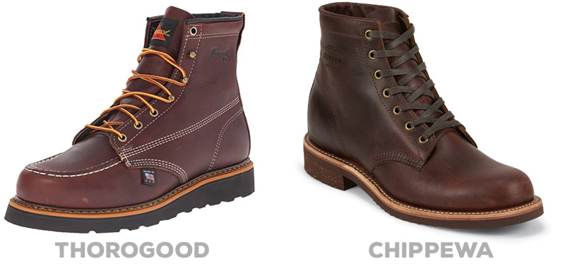 "Black Walnut leather in the Thorogood 6"" Moc Toe Boot ( Amazon )  Cordovan leather in the Chippewa Lace-Up Boot ( Amazon )"
