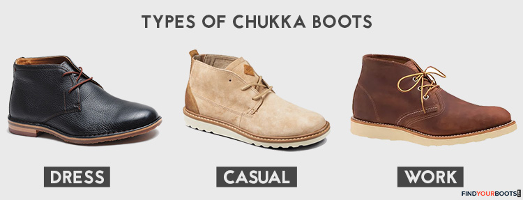 Dress - Trask Brady Chukka Boot ( Amazon )  Casual - Reef Voyage Chukka Boot ( Amazon )  Work - Red Wing Heritage Work Chukka ( Amazon )